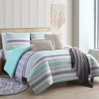 Sand Cloud Baja Reversible Full/Queen Comforter Set in Black/Aqua