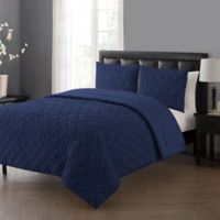 VCNY Home Lattice Queen Comforter Set in Navy
