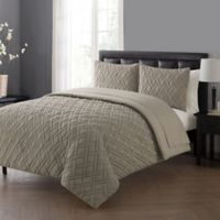 VCNY Home Lattice Queen Comforter Set in Taupe
