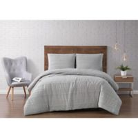 Brooklyn Loom® Carlisle Stripe Clipped Jacquard 3-Piece Full/Queen Duvet Set in Grey