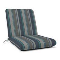 Casual Cushion Stripe Hinged Club Chair Cushion in Sunbrella® Trusted Coast