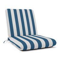 Casual Cushion Stripe Hinged Club Chair Cushion in Sunbrella® Maxim Regatta