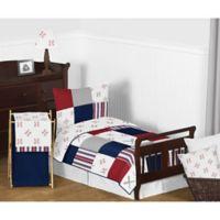 Sweet Jojo Designs Baseball Patch 5-Piece Toddler Bedding Set in Red/White