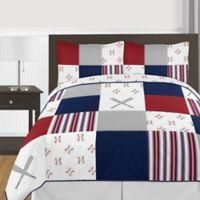 Sweet Jojo Designs® 3-Piece Reversible Baseball Patch Full/Queen Bedding Set in Red/Blue