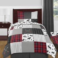 Sweet Jojo Designs® Rustic Patch Twin Bedding Set in Red/Black