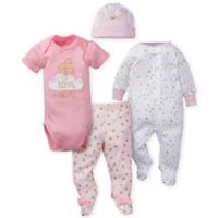Gerber® Newborn 4-Piece Sleep 'n Play, Bodysuit, Pant, and Cap Set in Pink