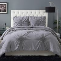 Christian Siriano® Georgia Rouched 3-Piece Full/Queen Comforter Set in Grey