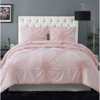Christian Siriano® Georgia Rouched 3-Piece Full/Queen Duvet Set in Blush Pink