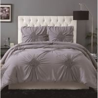 Christian Siriano® Georgia Rouched 3-Piece Full/Queen Duvet Set in Grey