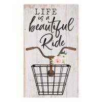 Beautiful Life 14-Inch x 24-Inch Wire Basket Wood Wall Art
