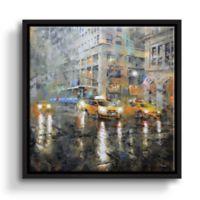 Manhattan Orange Rain 36-Inch Square Framed Wall Art
