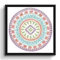 ArtWall Llamas Mandala 14-Inch x 14-Inch Floater-framed Canvas Wall Art