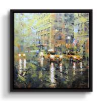 "ArtWall ""Manhattan Orange/Green Umbrella"" 10-Inch x 10-Inch Floater Framed Canvas Wall Art"