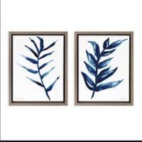 Uniek Blue Botanicals Framed Canvas Wall Art in Grey (Set of 2)