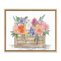 "Uniek ""Flower Box"" Framed Canvas Wall Art in Natural"