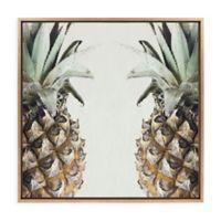 "Uniek ""Pineapples"" Framed Canvas Wall Art in Gold"