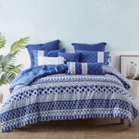 Shibori Reversible Queen Duvet Cover Set in Blue