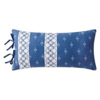Shibori Stripe Oblong Throw Pillow in Blue