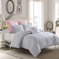 Crystal Heart Reversible Full Comforter Set in Grey