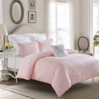 Crystal Heart Reversible Full Duvet Cover Set in Pink