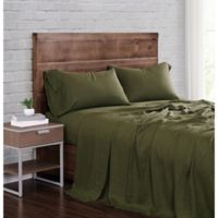 Brooklyn Loom Linen California King Olive Green 4 Piece Sheet Set