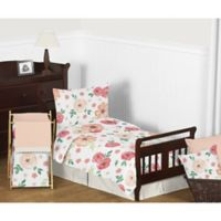 Sweet Jojo Designs Watercolor Floral 5-Piece Toddler Bedding Set in Coral/White