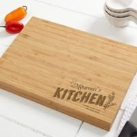 Her Kitchen 10-Inch x 14-Inch Personalized Bamboo Cutting Board