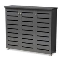 Baxton Studio Totty 3-Door Shoe Cabinet in Dark Grey