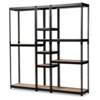 Baxton Studio Nancy 10-Shelf Closet Organizer in Black