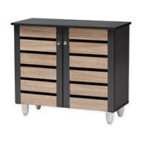 Baxton Studio Lewis 2-Door Shoe Cabinet in Oak/Dark Grey