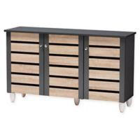 Baxton Studio Lewis 3-Door Shoe Cabinet in Oak/Dark Grey