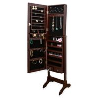 Simplify Lockable Free Standing Mirrored Jewelry Armoire in Brown
