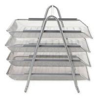 Mind Reader 4-Tray Desk Organizer in Silver