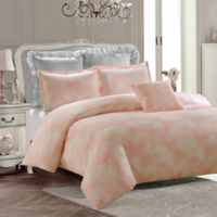 Royal Feathers Twin Duvet Cover Set in Pink