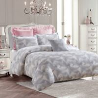 Royal Feathers Full/Queen Comforter Set in Grey