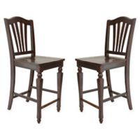 TTP Furnish Windsor Wave Back Dining Chairs in Mahogany (Set of 2)