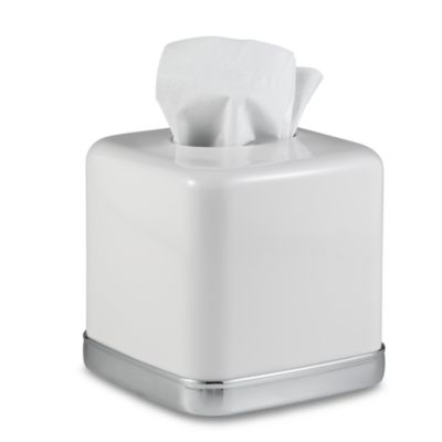 York Boutique Tissue Box Cover in White. Buy Chrome Tissue Holder from Bed Bath   Beyond