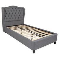 Flash Furniture Valencia Twin Upholstered Platform Bed in Light Grey