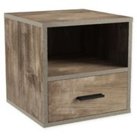 Modular Stackable Side Table Cube with Drawer in Grey
