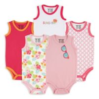 BabyVision® Luvable Friends® Size 0-3M 5-Pack Sunglasses Sleeveless Bodysuits in Pink