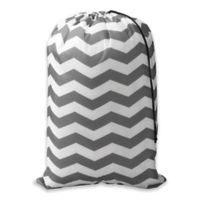 Chevron Novelty Laundry Bag in Grey/White