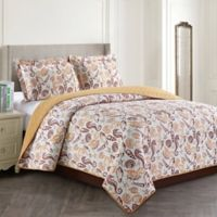 Seashell Reversible Twin Quilt Set in Tan