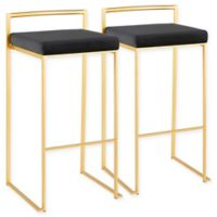LumiSource Fuji Contemporary Bar Stools with Velvet Cushions in Gold/Black (Set of 2)