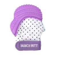 Munch Baby Munch Mitt Baby Teething Mitten in White/Purple