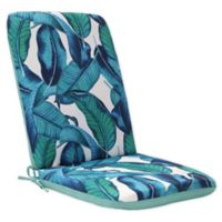 Commonwealth Home Fashions Tropical Outdoor High Back Chair Cushion in Aqua