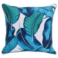 Commonwealth Home Fashions Tropical Outdoor Square Throw Pillow in Aqua