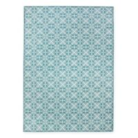 RUGGABLE® Floral Tiles 5' x 7' Flat-Weave Indoor/Outdoor Area Rug in Aqua Blue