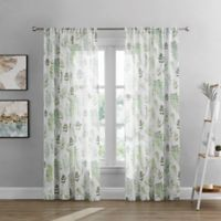 Rowan Sheer 63-Inch Rod Pocket Window Curtain Panel in White/Green