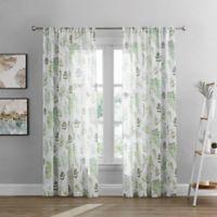 Rowan Sheer 95-Inch Rod Pocket Window Curtain Panel in White/Green