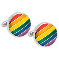 Rainbow Stripe Silver-Plated Metal Cufflinks